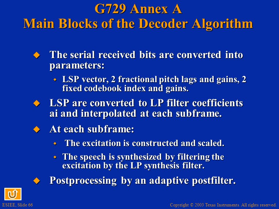 G729 Annex A Main Blocks of the Decoder Algorithm