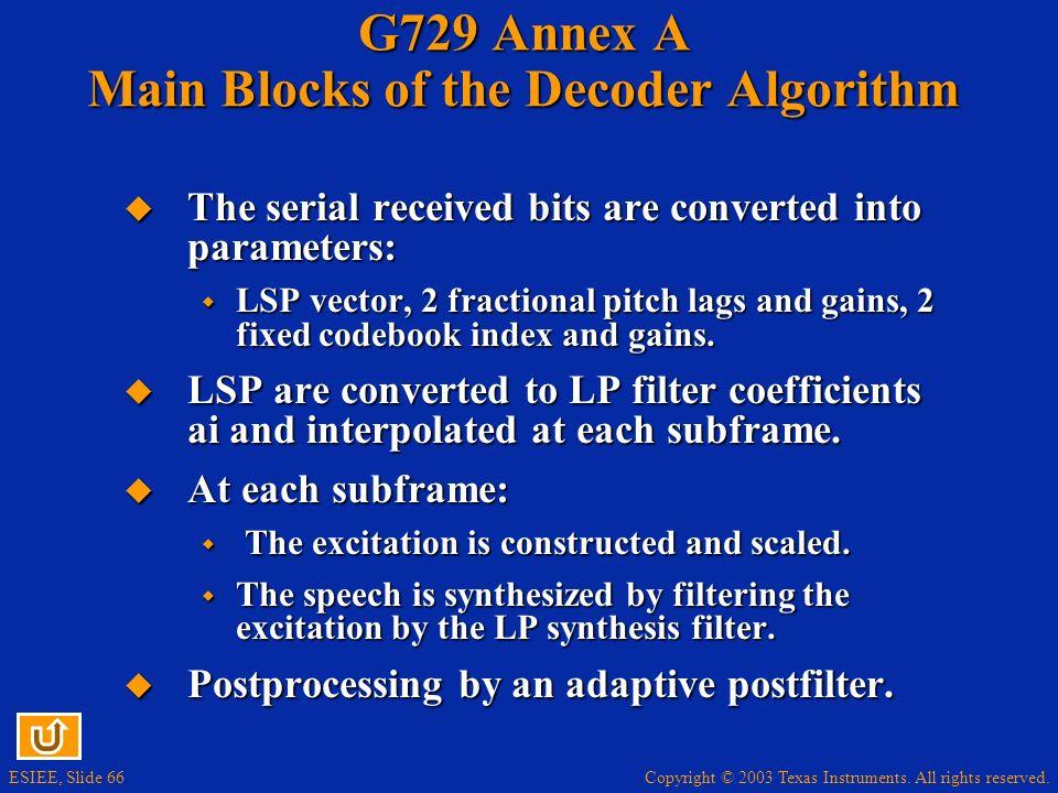 G729 Annex A Main Blocks of the Decoder Algorithm