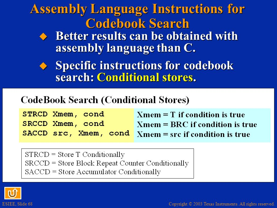 Assembly Language Instructions for Codebook Search