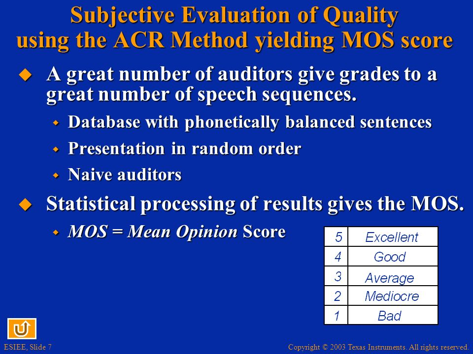 Subjective Evaluation of Quality using the ACR Method yielding MOS score
