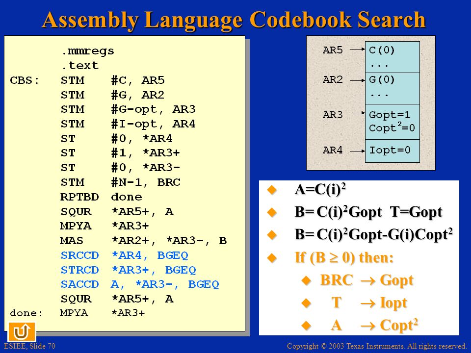 Assembly Language Codebook Search
