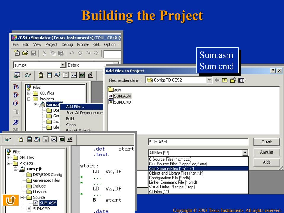 Building the Project Sum.asm Sum.cmd