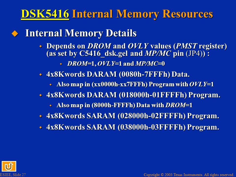 DSK5416 Internal Memory Resources