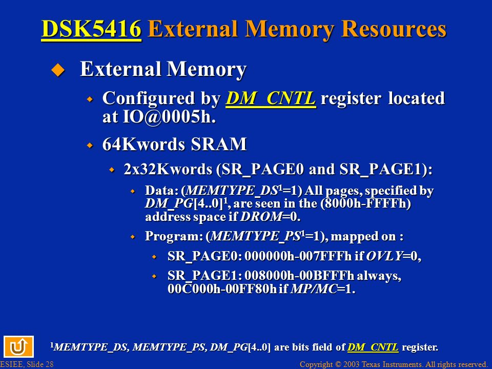 DSK5416 External Memory Resources