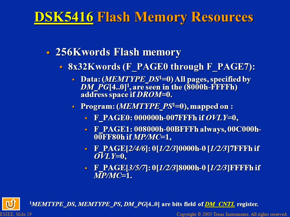 DSK5416 Flash Memory Resources