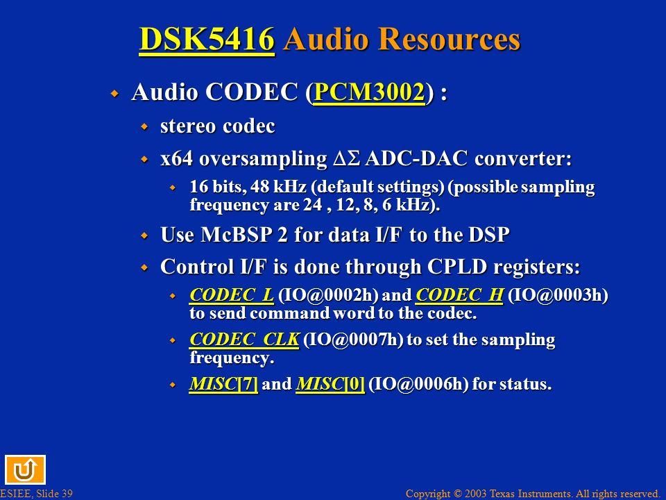 DSK5416 Audio Resources Audio CODEC (PCM3002) : stereo codec