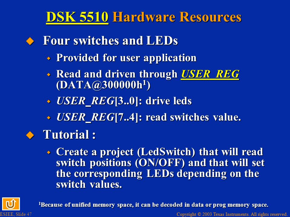 DSK 5510 Hardware Resources