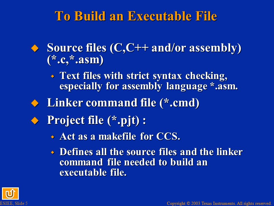 To Build an Executable File