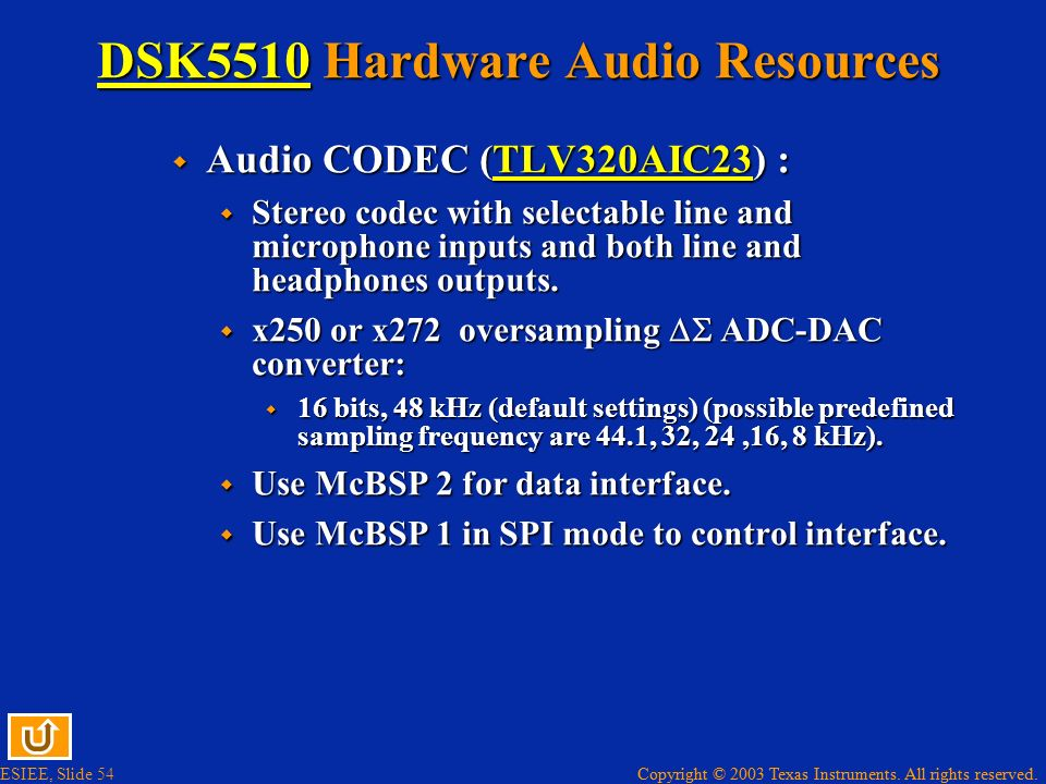 DSK5510 Hardware Audio Resources