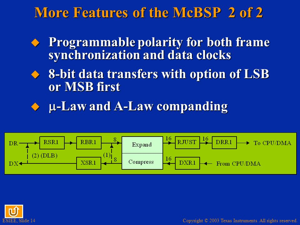 More Features of the McBSP 2 of 2