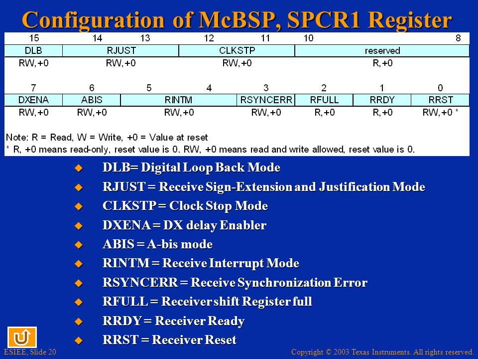 Configuration of McBSP, SPCR1 Register