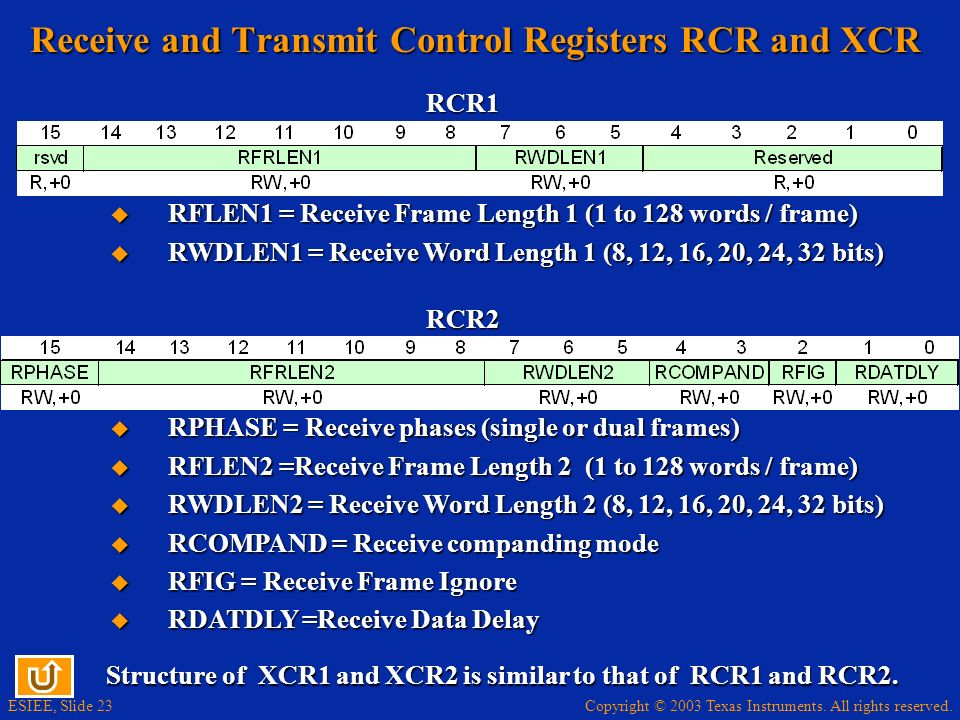 Receive and Transmit Control Registers RCR and XCR