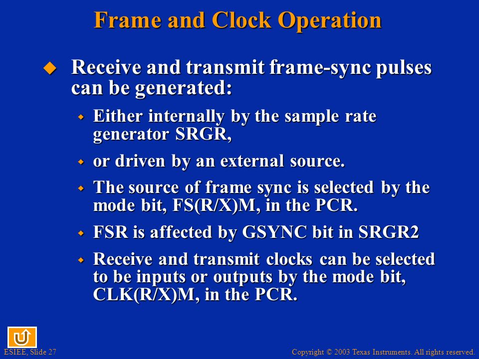 Frame and Clock Operation
