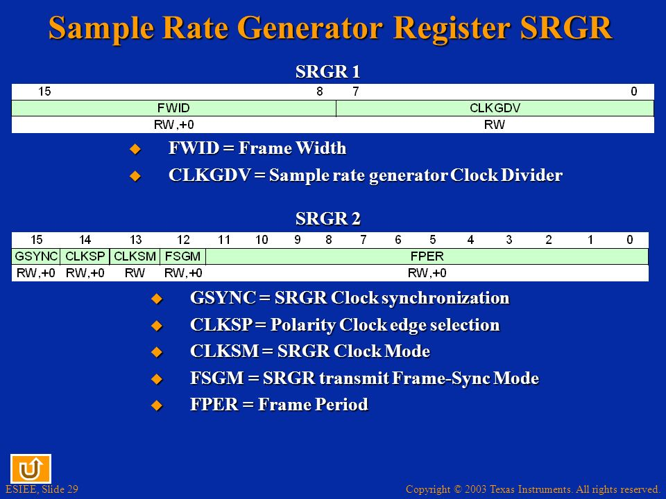 Sample Rate Generator Register SRGR