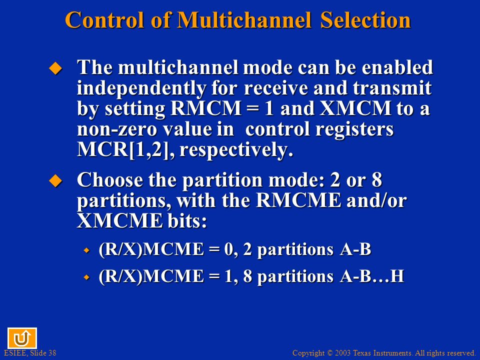 Control of Multichannel Selection