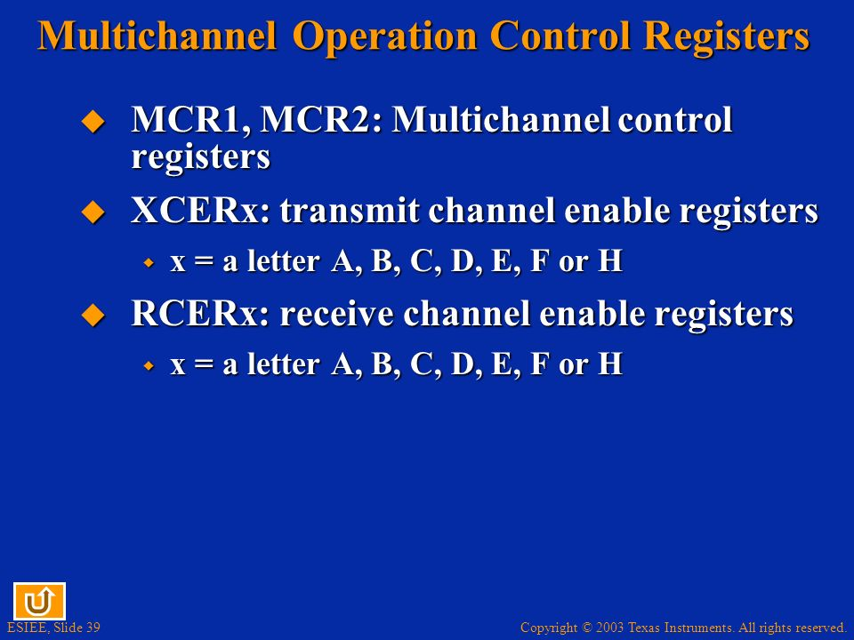 Multichannel Operation Control Registers