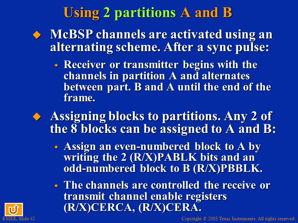 Using 2 partitions A and B