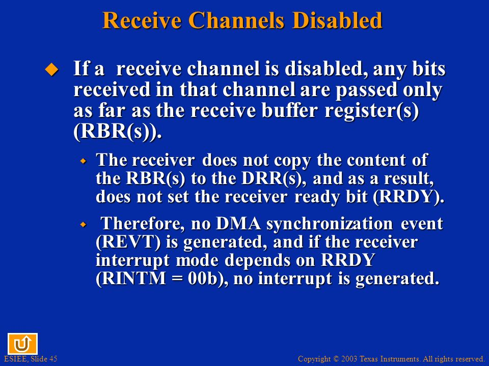Receive Channels Disabled