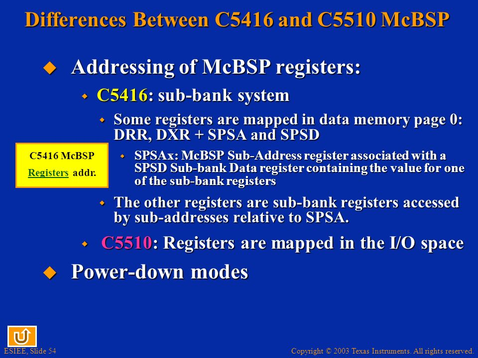 Differences Between C5416 and C5510 McBSP