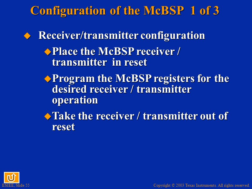 Configuration of the McBSP 1 of 3