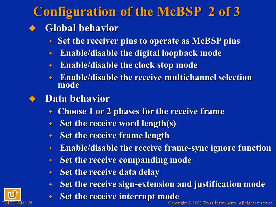Configuration of the McBSP 2 of 3