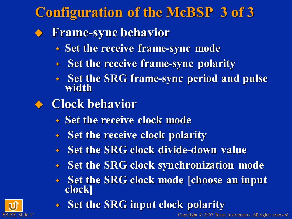 Configuration of the McBSP 3 of 3