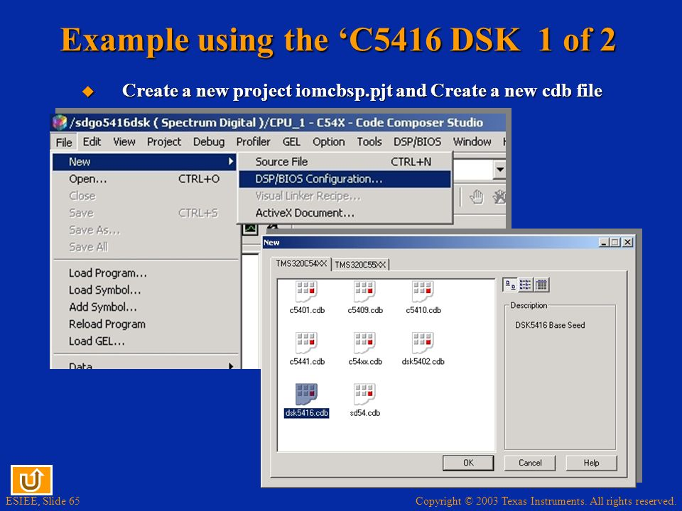 Example using the 'C5416 DSK 1 of 2