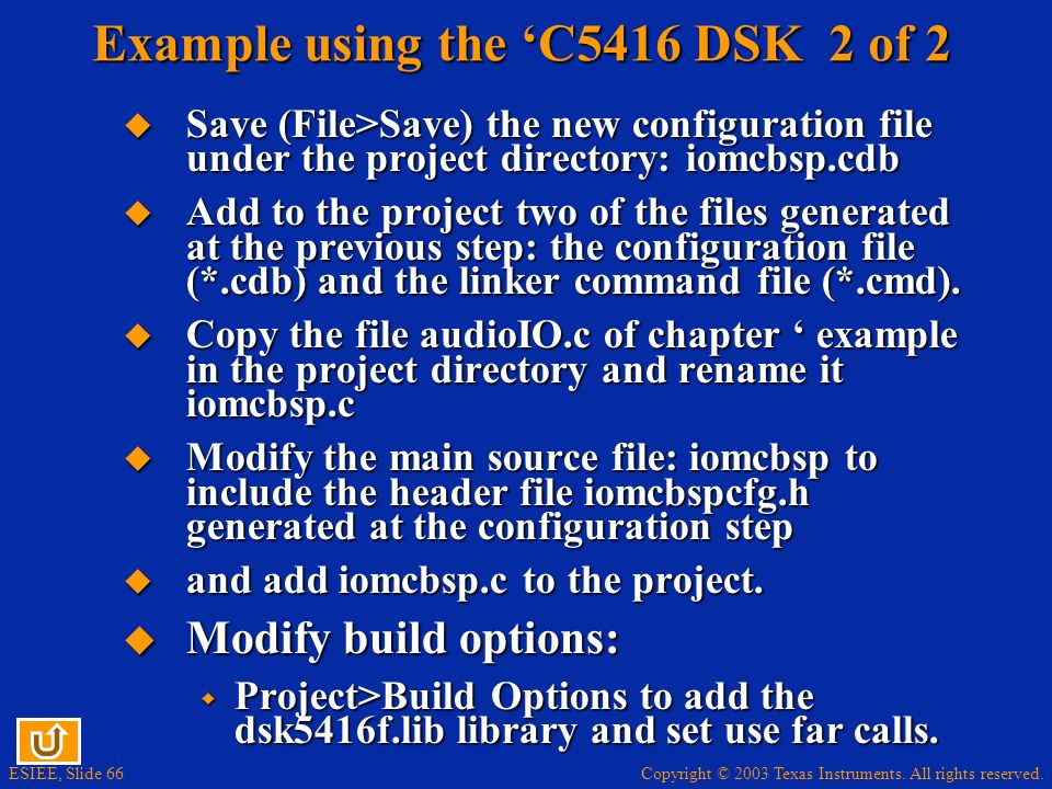 Example using the 'C5416 DSK 2 of 2