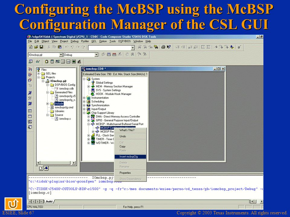 Configuring the McBSP using the McBSP Configuration Manager of the CSL GUI
