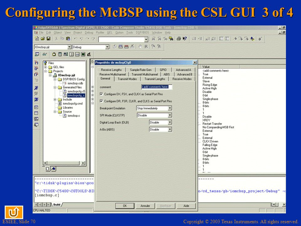 Configuring the McBSP using the CSL GUI 3 of 4