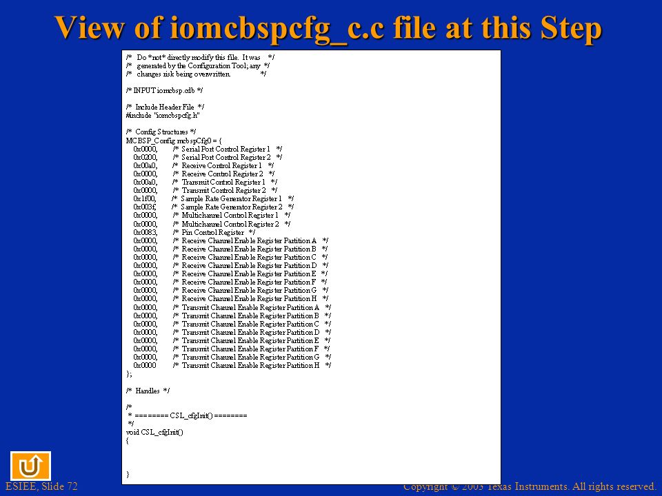 View of iomcbspcfg_c.c file at this Step