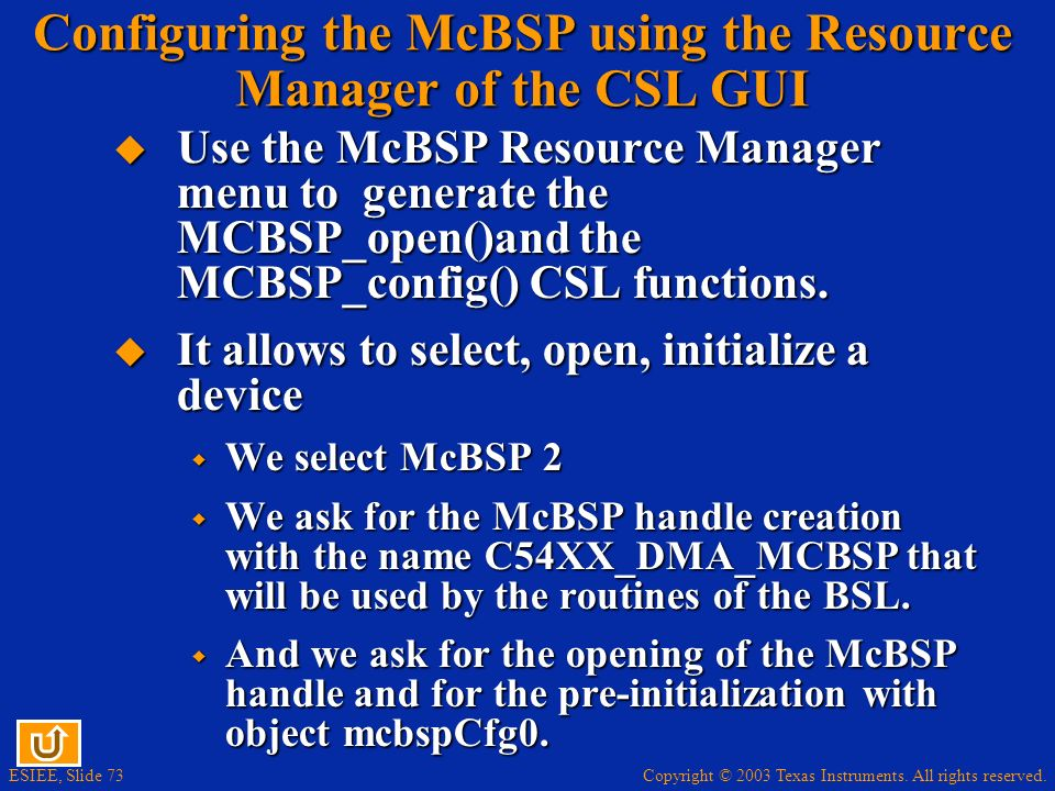 Configuring the McBSP using the Resource Manager of the CSL GUI