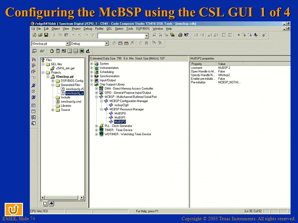 Configuring the McBSP using the CSL GUI 1 of 4