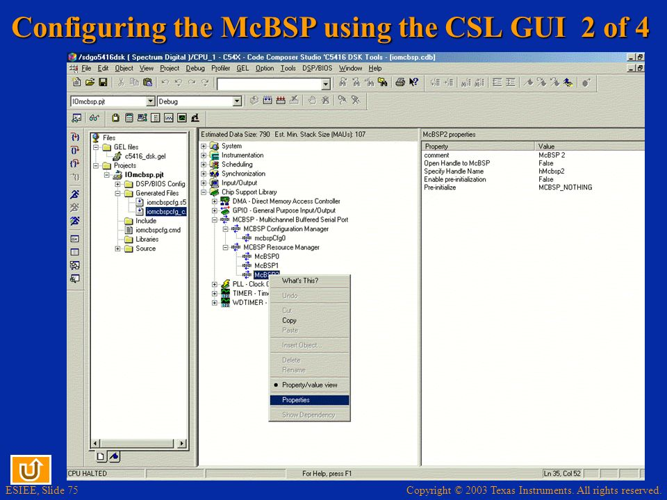 Configuring the McBSP using the CSL GUI 2 of 4