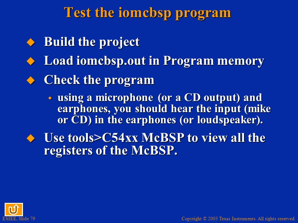 Test the iomcbsp program