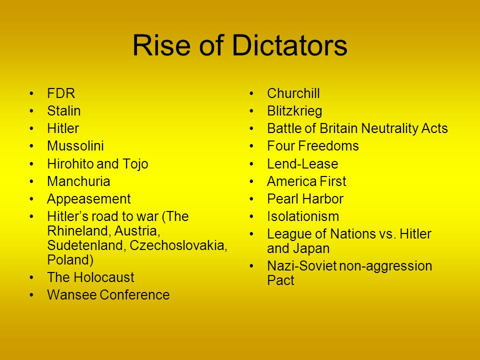 Rise of Dictators FDR Stalin Hitler Mussolini Hirohito and Tojo