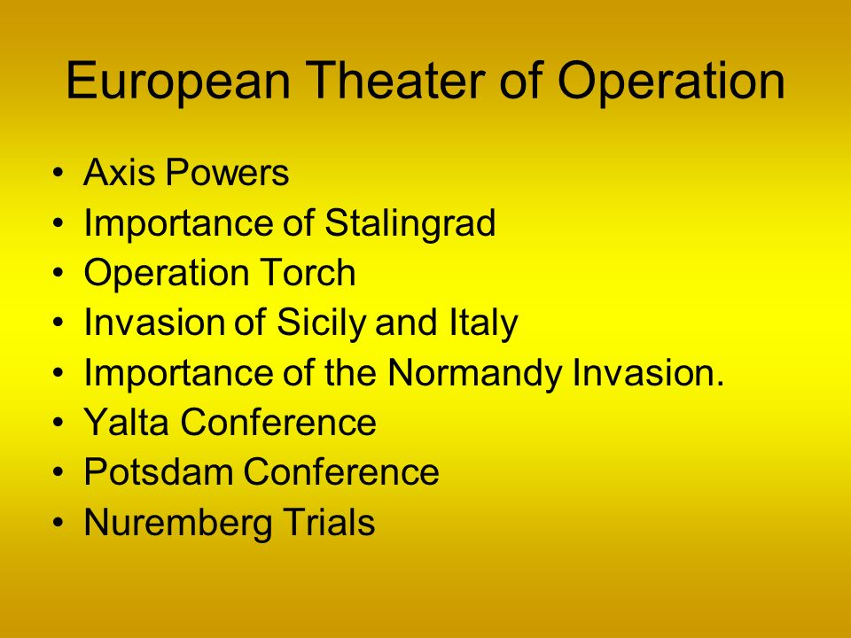 European Theater of Operation