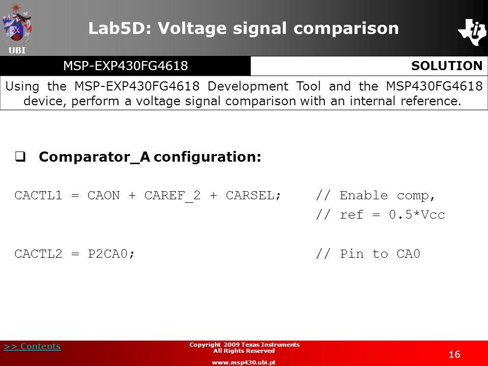 Lab5D: Voltage signal comparison