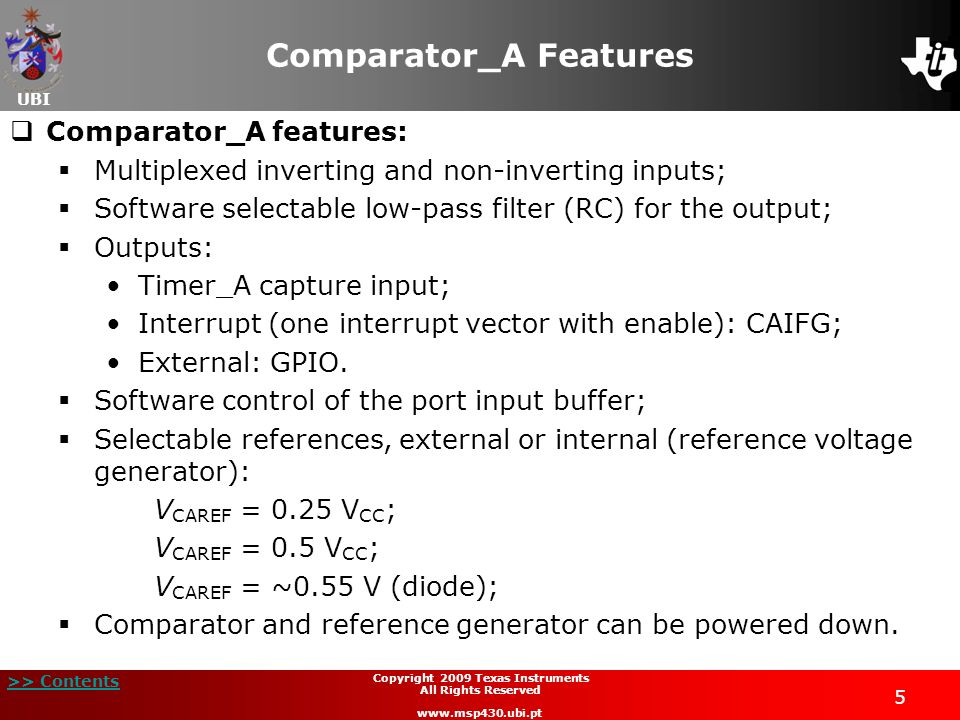 Comparator_A Features