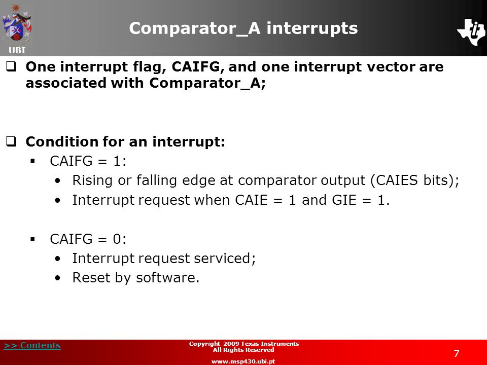 Comparator_A interrupts