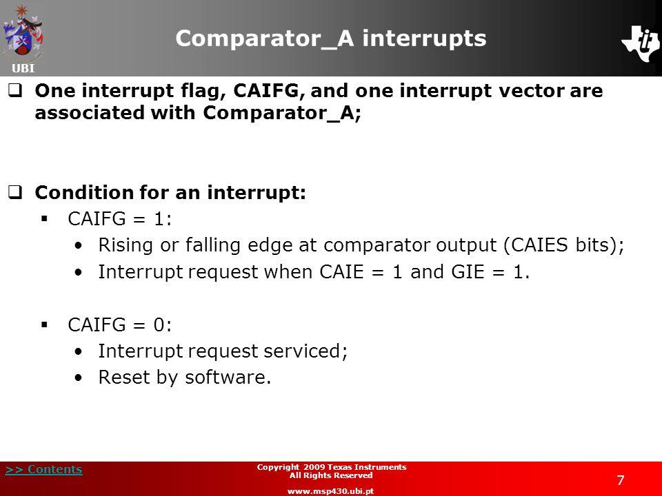 Comparator_A interrupts