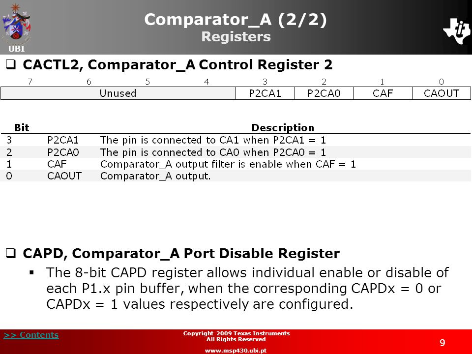 Comparator_A (2/2) Registers