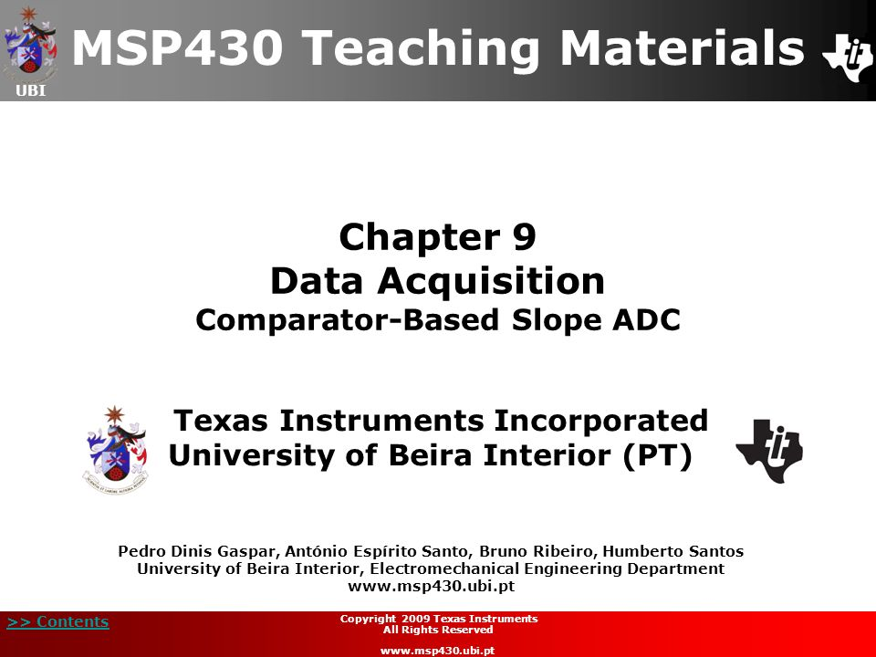 Chapter 9 Data Acquisition Comparator-Based Slope ADC