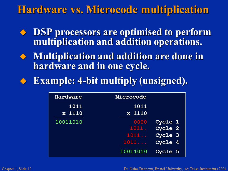 Hardware vs. Microcode multiplication