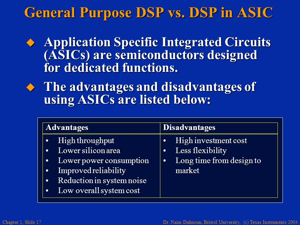 General Purpose DSP vs. DSP in ASIC