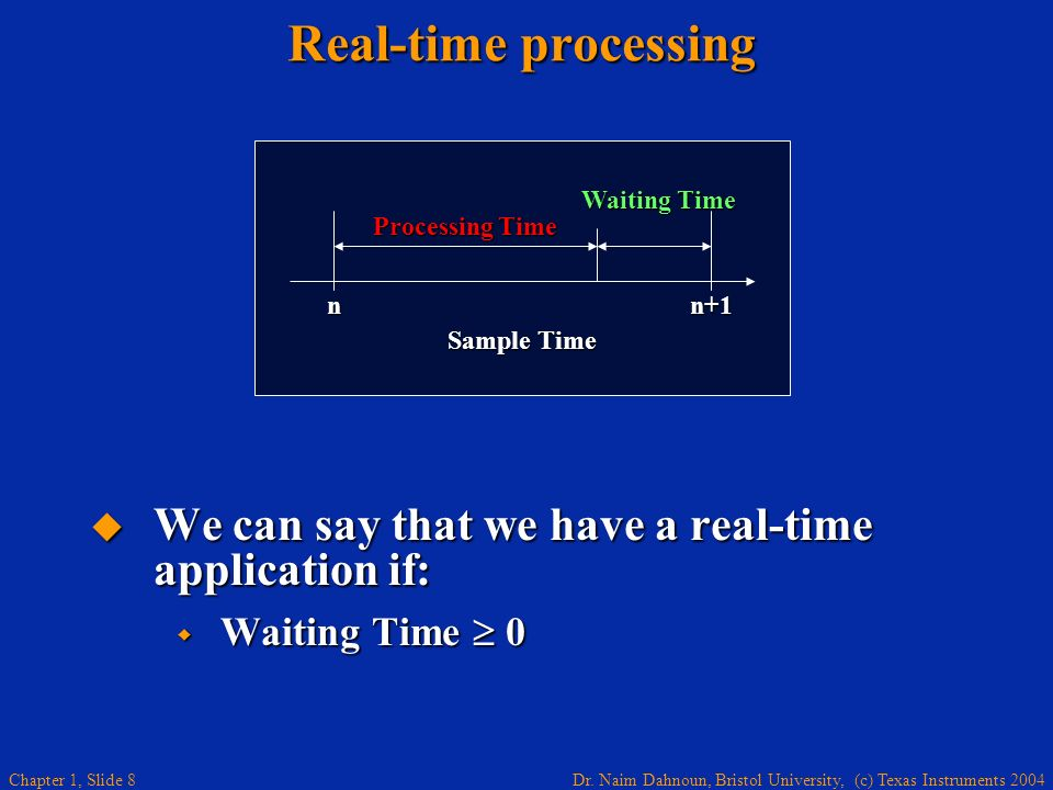 Real-time processing Waiting Time. Processing Time. n. n+1. Sample Time. We can say that we have a real-time application if: