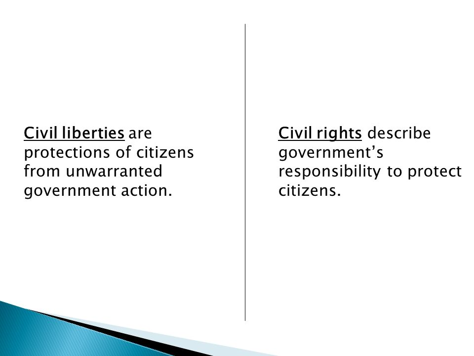 Civil liberties are protections of citizens from unwarranted government action.