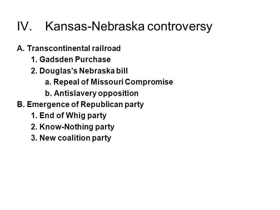 IV. Kansas-Nebraska controversy