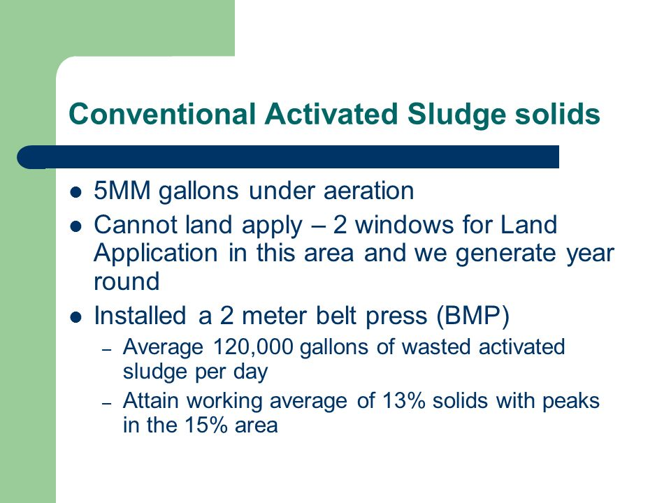 Conventional Activated Sludge solids