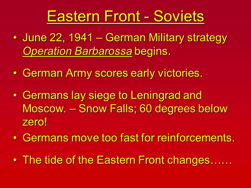 Eastern Front - Soviets